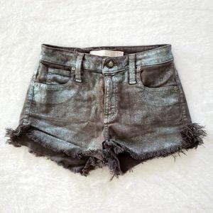 Frankie B - Metallic Wash Denim Shorts